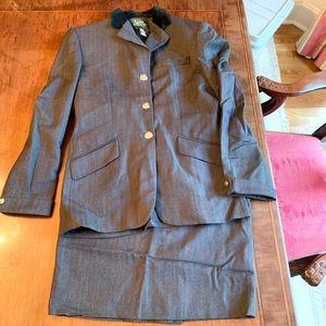 Ralph Lauren Skirt & Jacket Suit size 4/6 Blue
